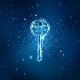 Digital key in keyhole in information security concept